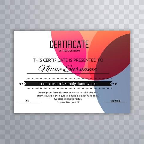 Abstracte kleurrijke certificaatachtergrond