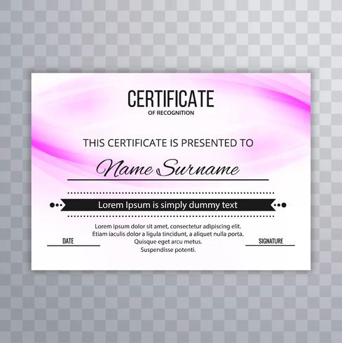 Fundo colorido bonito certificado de design vetor