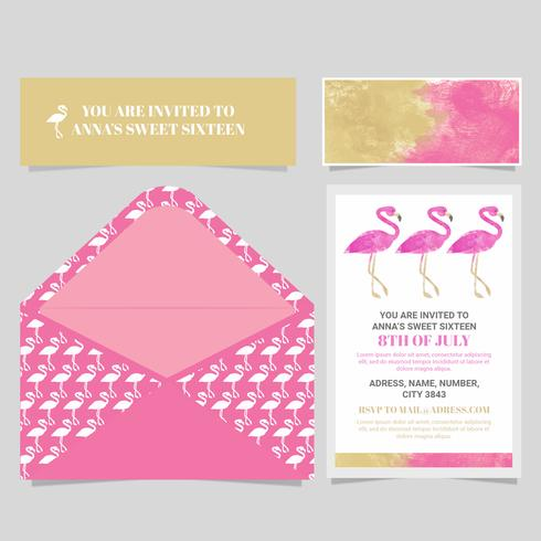 Vector Flamingo Sweet Sixteen Card