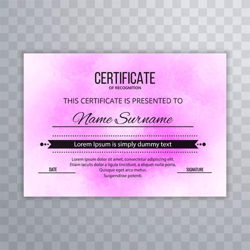 Modelo de design moderno certificado rosa
