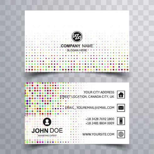 Cartão de visita colorido abstrato fundo pontilhado