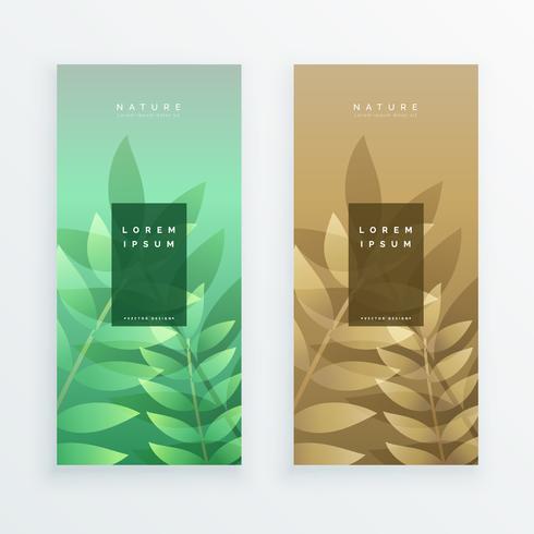 conjunto de design de banner de folhas verticais