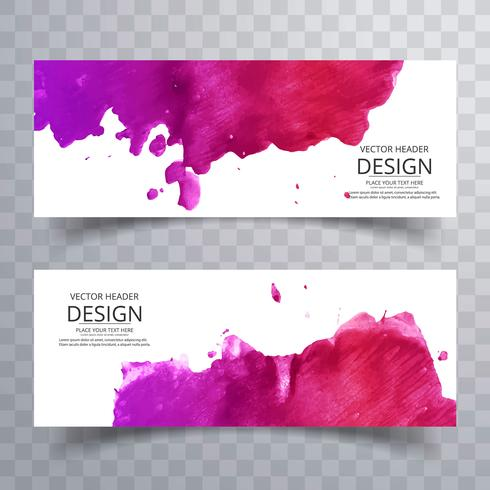Abstract colorful watercolor banners set design vector