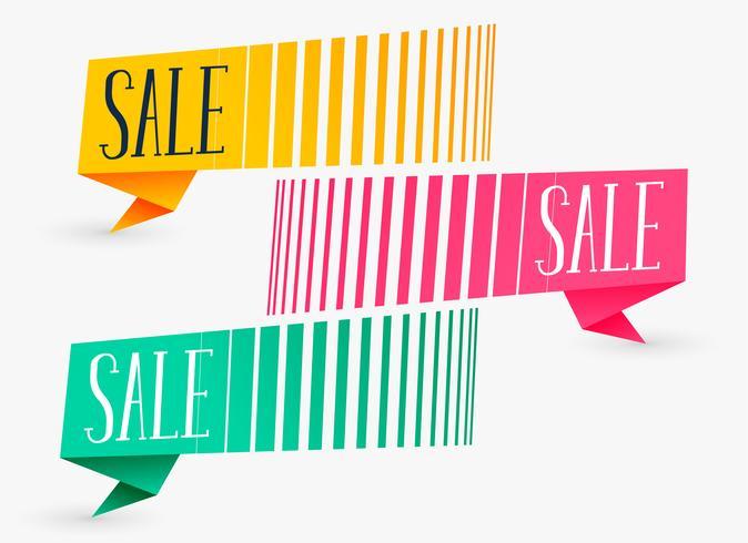 banners de venda criativa em três cores