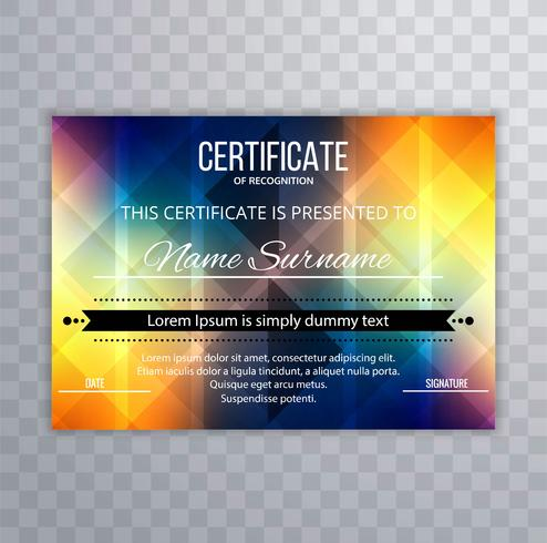 Abstract colorful certificate design template illustration