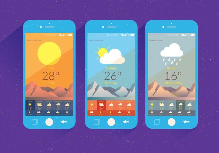 Väder App Screen Vector