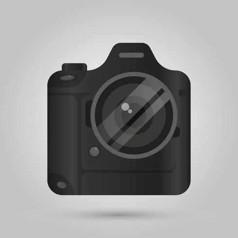 Realistische Vorderansicht DSLR-Kamera mit Steigungshintergrund Vektor-Illustration vektor