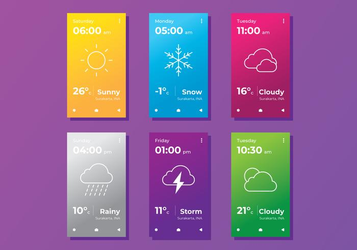 Minimal Wetter App Bildschirme
