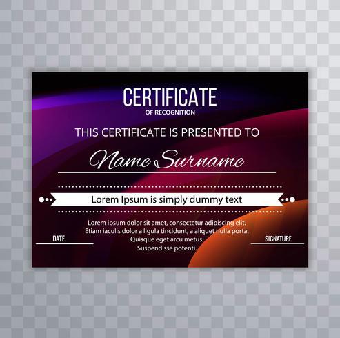 Astratto sfondo colorato modello di certificato
