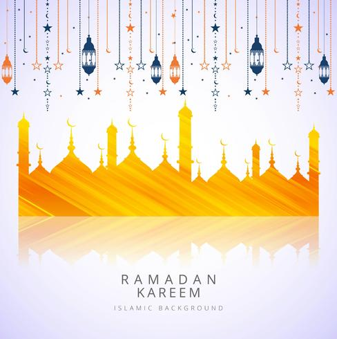 Ramadan Kareem islamic elegant card background vector