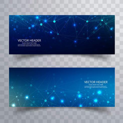 Banners de polygona bela tecnologia azul cenografia