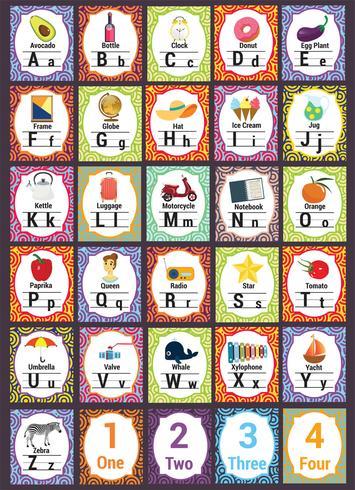 Schule-Thema-Alphabete-Vektor-Satz
