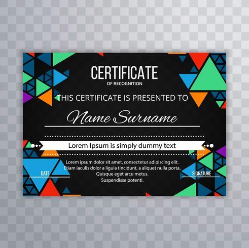 Arrière-plan de modèle de certificat coloré moderne