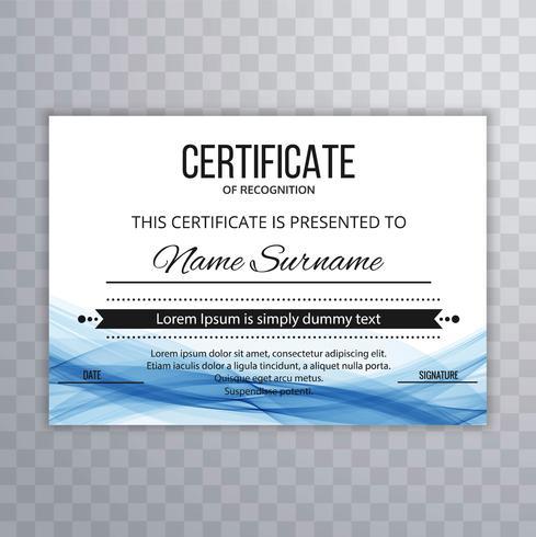 modelo de certificado moderno fundo de design de onda vetor