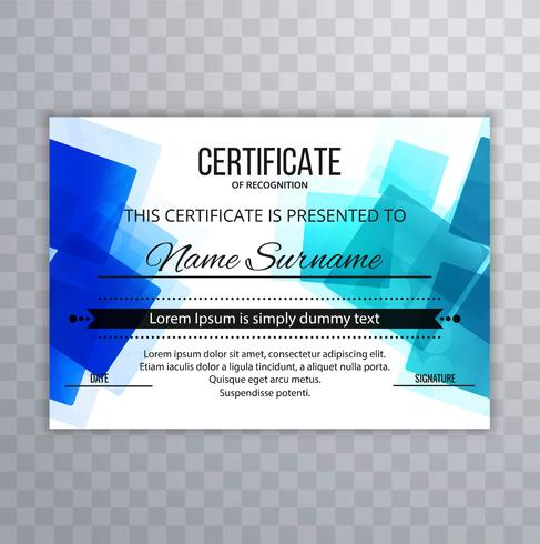 Beautiful blue polygon certificate background