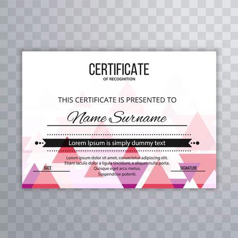 Fundo de modelo colorido certificado moderno