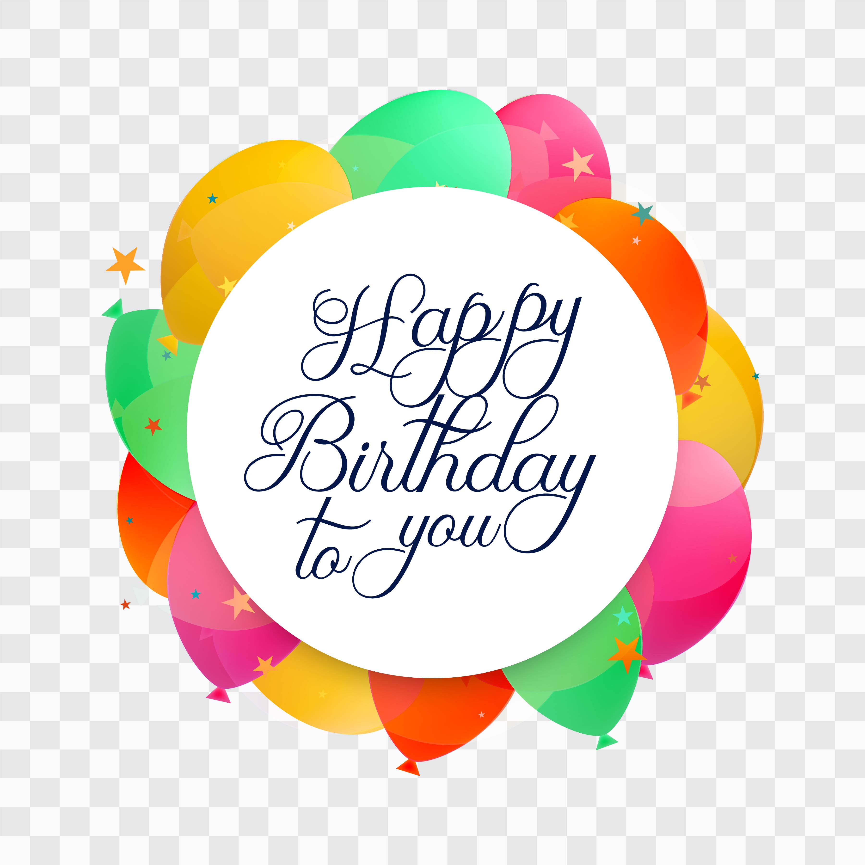 beautiful happy birthday card colorful baloons background