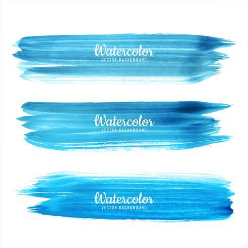 De hand trekt blauw waterverfslagen vastgesteld ontwerp