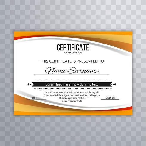 Belo design de onda de modelo de certificado