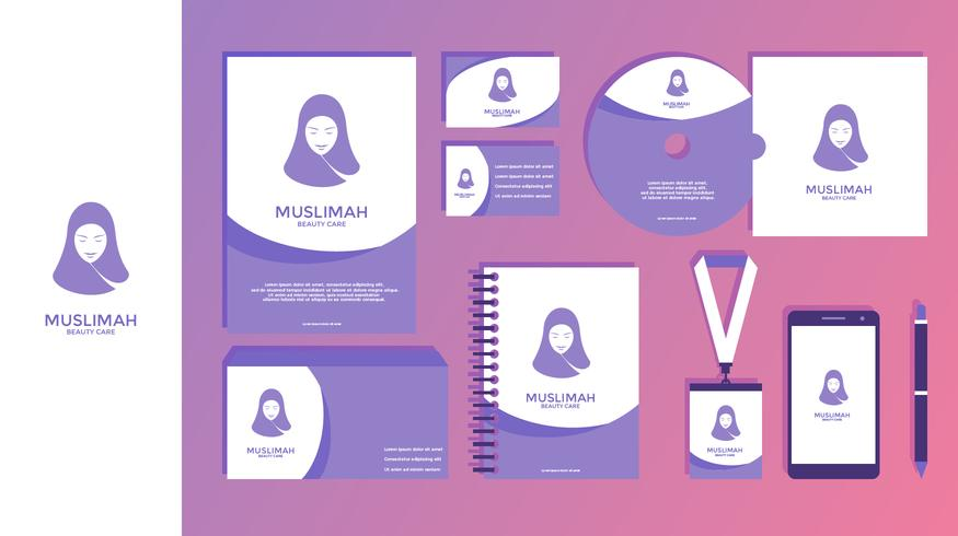 Muslimah Beauty Care Weibliche Corporate Identity Vector
