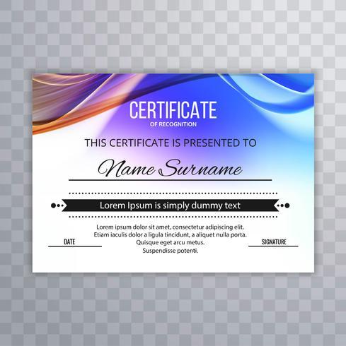 Fundo de certificado de onda colorida linda
