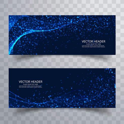 Abstracte glanzend glitter blauwe golf banners sjabloonontwerp