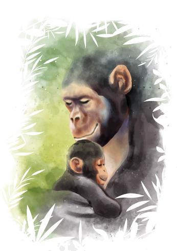 Mamãe Animal E Aquarela Do Bebê