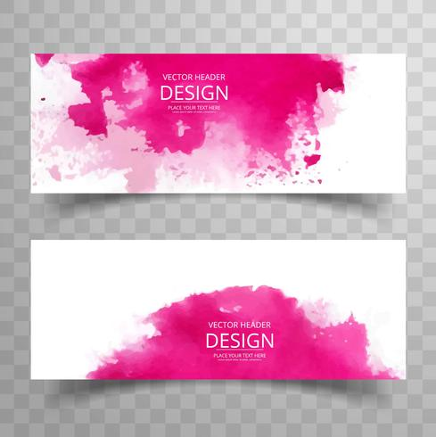 Abstract colorful watercolor banner template vector