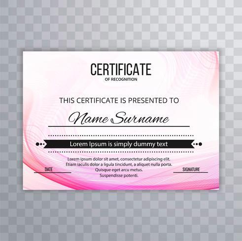 Modern pink wavy certificate background