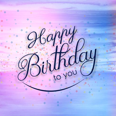 Beautiful Happy Birthday Card Colorful Watercolor Background