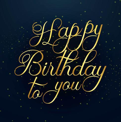 Belle conception de texte doré joyeux anniversaire