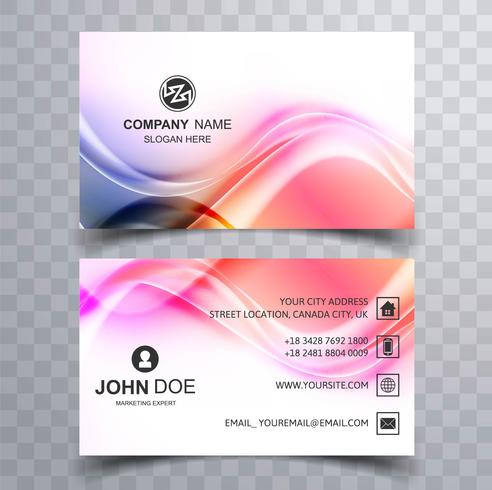Abstract colorful shiny wave business card design