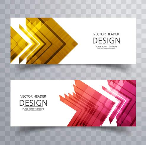 Abstract colorful geometric banners set
