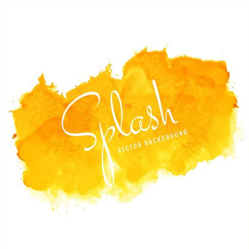 Hand paint watercolor yellow splash on white background