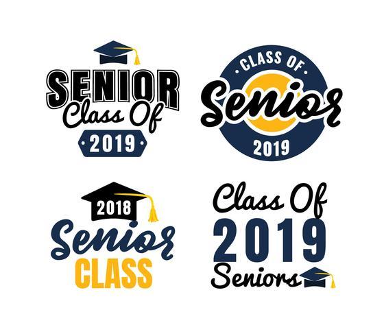 Badges avec logo de classe senior vecteur