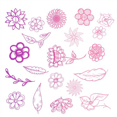 Beautiful doodle floral colorful set design illustration