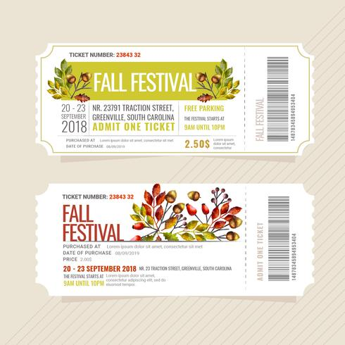 Ingressos para o Festival de Outono de Vetores