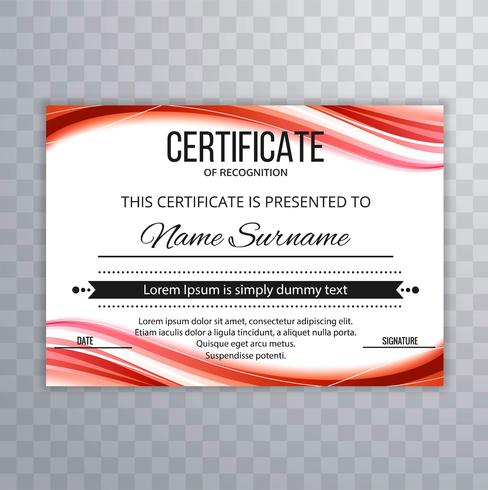 Abstract colorful certificate template wave design vector