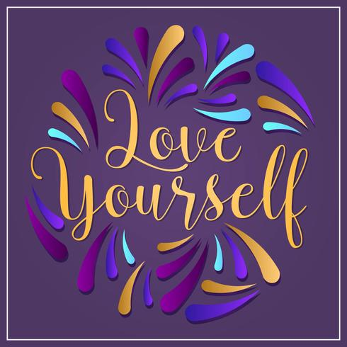 Flat Love Yourself Lettering Typography style Vector Illustratie