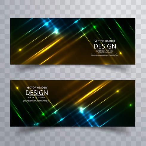 Abstracte glanzende heldere kleurrijke geplaatste banners