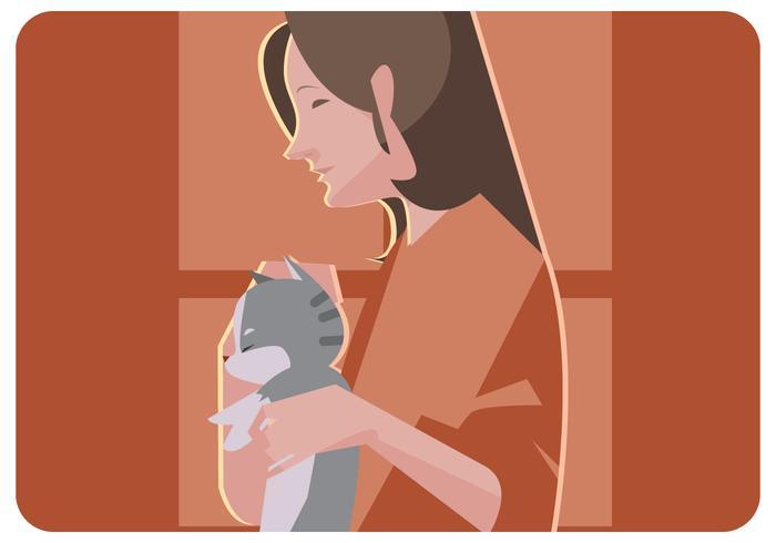 Menina asiática e seu vetor de gato