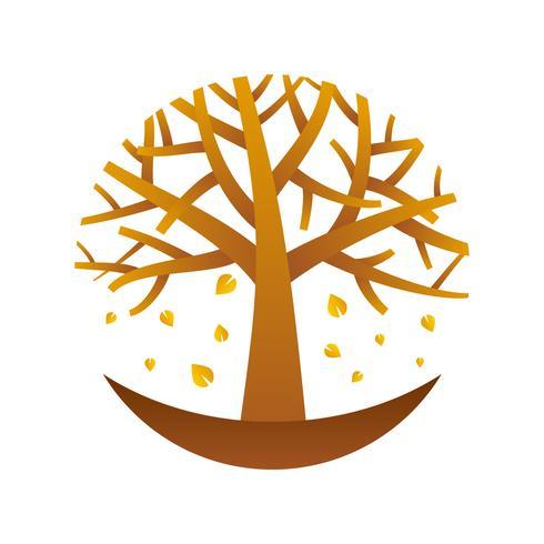 Árboles únicos elementos del logotipo de vectores