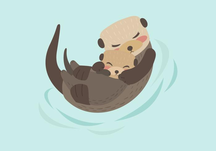 Mãe e bebê da lontra