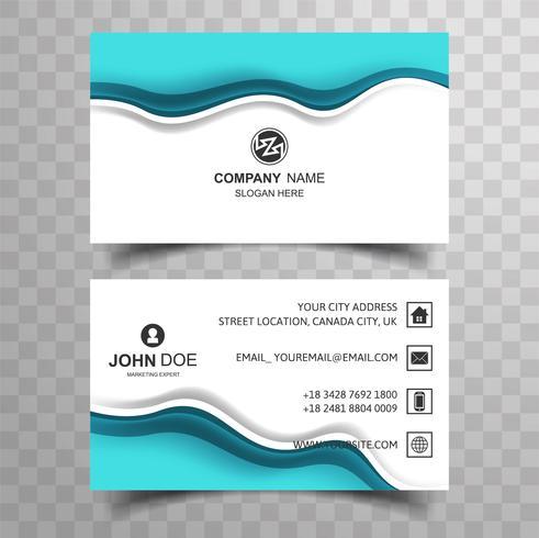 Design de cartão abstrato onda azul