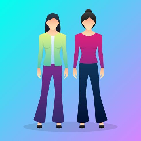 Hippie Women In Bell-bottomed Pants Dancing Disco vector