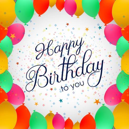 Ballons de fête de luxe et carte d'anniversaire coloré de confettis invita