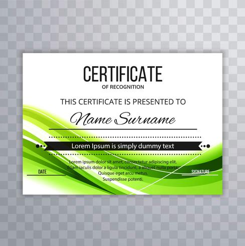 Certificat abstrait modèle fond de vague verte