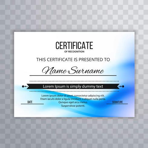 Design de modelo de certificado de onda abstrato azul vetor
