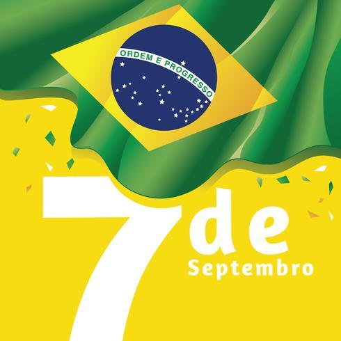 Unabhängigkeitstag des Brasilien-Staatsflagge-Hintergrundes auf gelber Farbe