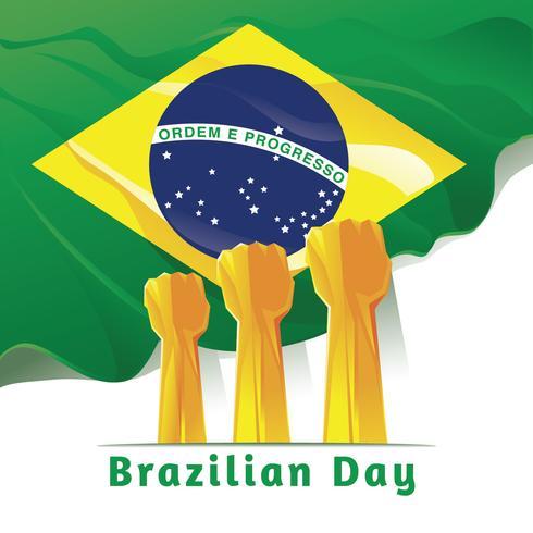 Celebrando el Día de la Independencia de Brasil. Resumen manos en el fondo de la bandera